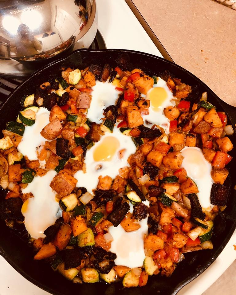 Sweet Potato, Bacon and Egg Skillet